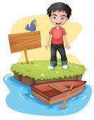 A boy near the empty signboard with a bird — Stock Vector