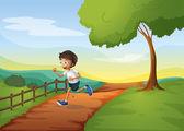 A young boy running — Stock Vector