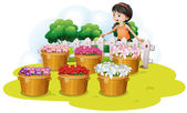 A girl looking at the flowers in the basket — Stock Vector