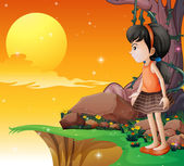 A young girl watching the fullmoon at the cliff — Stock Vector