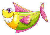 A smiling colorful aquatic fish — Stock Vector