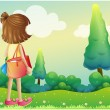 Stock Vector: Girl with bag at hilltop