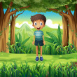 Stock Vector: Smiling boy in woods
