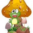 A smiling frog near the giant mushroom — Stock Vector