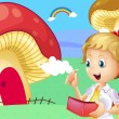 A girl holding a wallet near the giant mushroom houses — Imagen vectorial