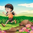 A young girl running hurriedly — Stock Vector