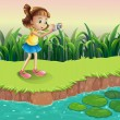 A girl taking photos at the pond — Stock Vector