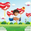 A boy jumping in the field with giant lollipops — Stock Vector #29220917