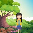 A young lady in the forest — Stock Vector