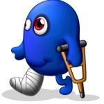 An injured blue monster — Stock Vector