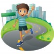 A happy boy running — Stock Vector