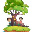 Vetorial Stock : Two boys at back of enchanted treehouse