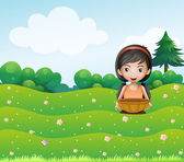 A girl with a basket at the hill — Stock Vector