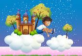 A boy jumping near the castle — Stock Vector
