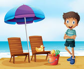 A young boy at the beach near the wooden chairs — Stock Vector