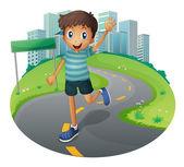 A happy boy running — Stock Vector