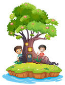 Two boys at the back of the enchanted treehouse — Stock Vector