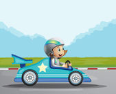 A happy girl in her blue racing car — Stock Vector