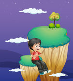 A boy waiting for someone at the topmost part of a landform — Stock Vector