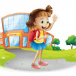Girl going home from school — Stock Vector #29863949