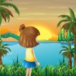 A young girl watching the river — Stock Vector