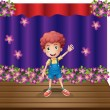 A stage with a young boy waving happily — Stock Vector