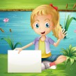 A girl at the pond holding an empty signboard — Stock Vector