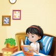A young lady reading a storybook in her bed — Векторная иллюстрация