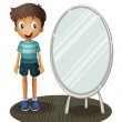 A boy standing beside the mirror — Stock Vector #29864423