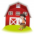 A girl reading in front of the barnhouse — Stock Vector