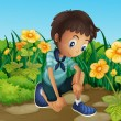 Sad boy near blooming flowers — Stock Vector #29864621