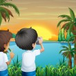 Two kids with a camera at the riverbank — Stock Vector #29864655