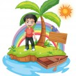 An island with a boy near the empty signage — Stock Vector