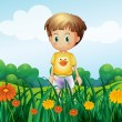 A young boy in front of the garden at the hilltop — Stock Vector