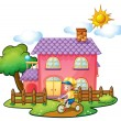 Stock Vector: A little boy playing in front of their house