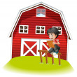 Stock Vector: A teenager reading near the barnhouse
