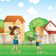 Two young ladies playing in the ground in front of the houses — Stock Vector