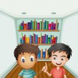 Two boys in front of bookshelves with books — Stock Vector #29865191
