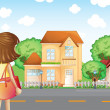 A girl with a bag across the neighborhood — Stock Vector