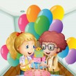 Stock Vector: A birthday party inside the house