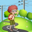 A young boy walking at the street with electric posts nearby — Stock Vector