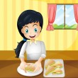 A happy woman preparing sandwiches — Stock Vector