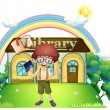 A boy in front of the library in the hilltop — Stock Vector