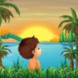A boy near the river — Stock Vector