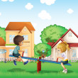 Stock Vector: Kids playing at the park in the village