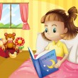 A small girl reading a storybook inside her room — Stock Vector