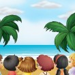 A group of kids at the beach — Stock Vector