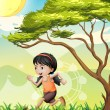 A girl running at the field — Stock Vector