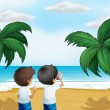 Two photographers at the beach — Stock Vector