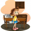 A little girl in the kitchen wearing a blue skirt — Stock Vector